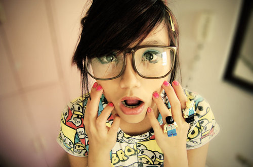 cute girl nerd glasses