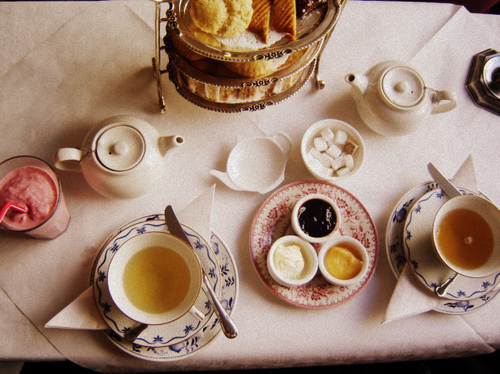 afternoon tea, breakfast, croissant, jame, milkshake, pastry - inspiring picture on Favim.com