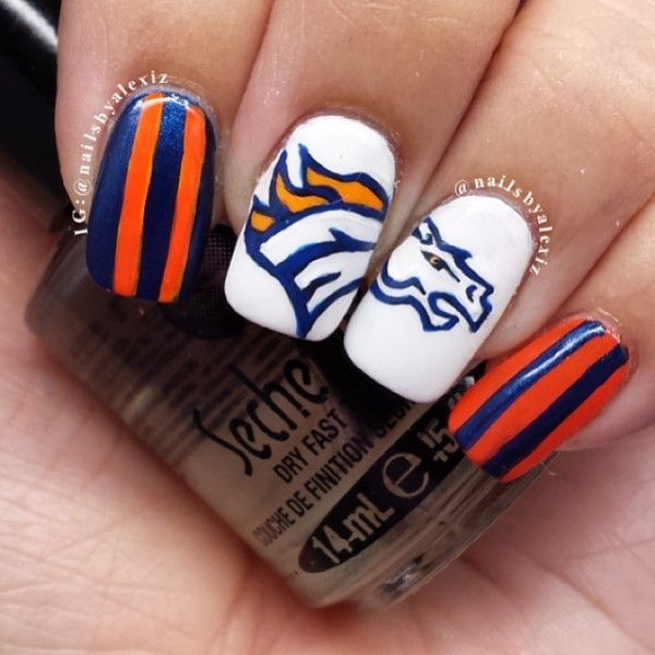 Hand Painted Denver Broncos Nail Art by nailsbyalexiz    BeautyTipsnTricks.com - Hand Painted Denver Broncos Nail Art By Nailsbyalexiz