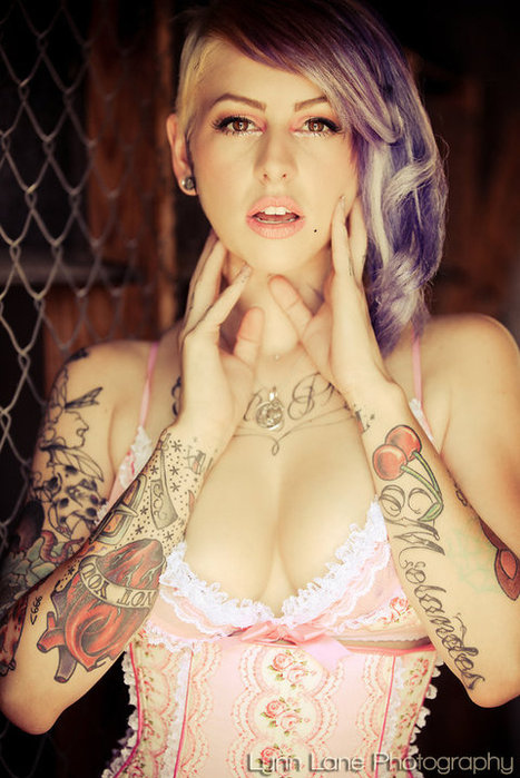 Beautiful Brown Eyes Girl Purple Hair Tattoos Favimcom 64706 Large