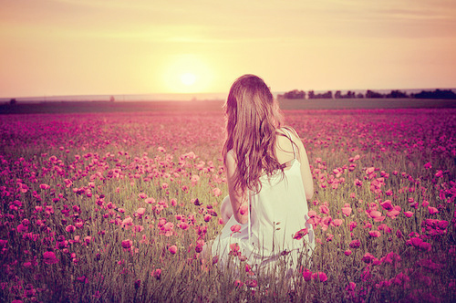 beautiful, blonde, dress, fashion, field, flower - inspiring picture on Favim.com