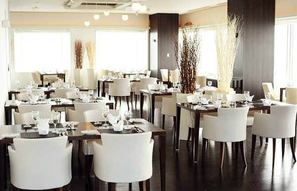 Fancy white plush restaurant chairs luxury restourant