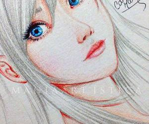 white silver hair drawing