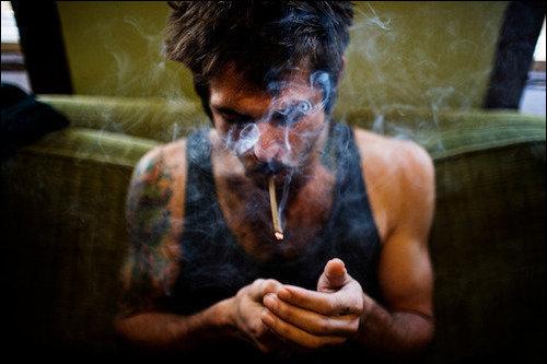 art, boy, cigarette, smoke, tatoo - inspiring picture on Favim.com
