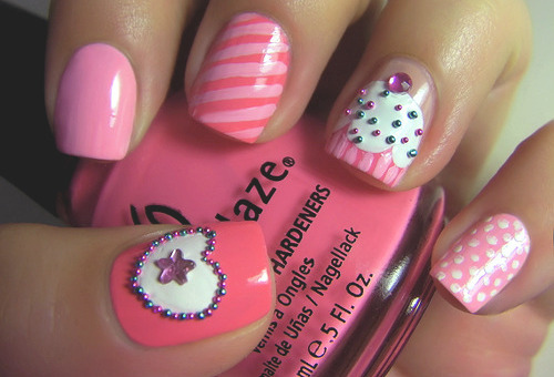 cute, girly, nail art, nails, pink - inspiring picture on Favim. - Girly Nail Art Tumblr#%