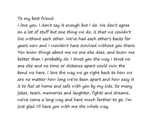 dear best friend i love you i want you to know this quotes friends and me