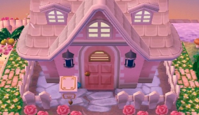 Pinkhouse we heart it animal crossing house and pink for Modern house acnl