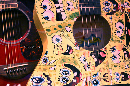 Cartoon-cute-guitar-photography-sponge-bob-yellow-favim.com-80338_large