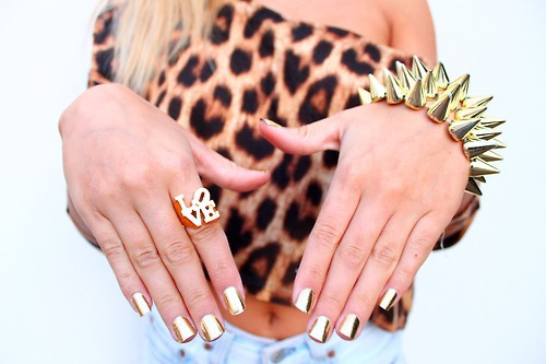 Shiny Golden Look   Shiny Manicure ideas