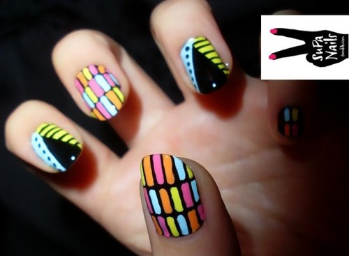 Supa Nails 'Tribal & Stripe' Nail Art supa nails-african disco nail art – Highsnobette.com