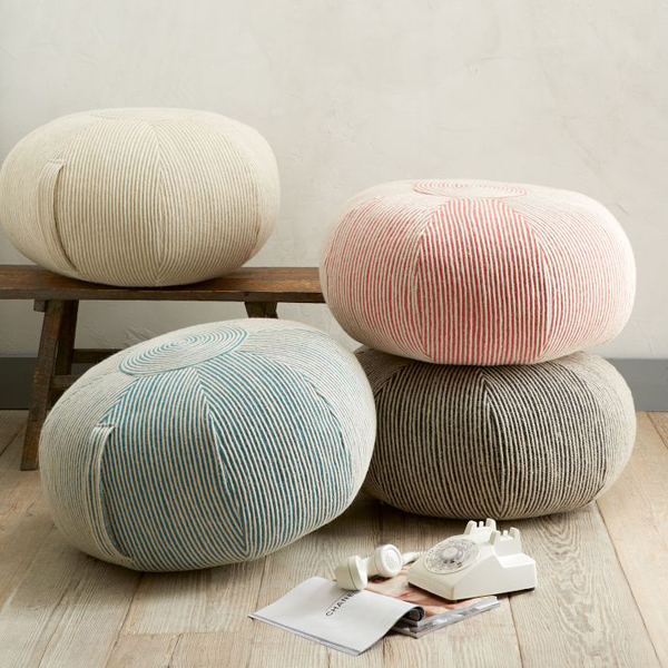Colorful Large Pouf Design Idea Finished With Best Wooden Flooring ...