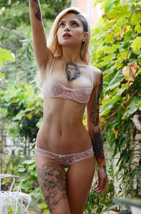 sexist asian babe with tattoos naked