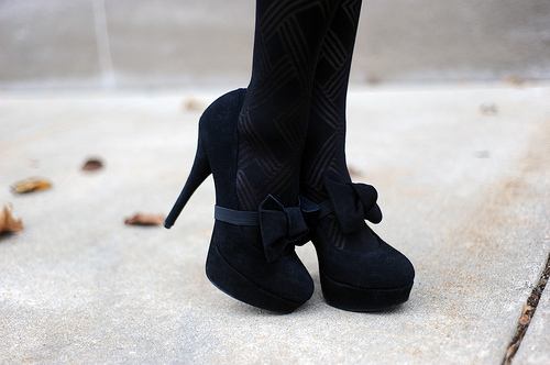 black high heels with bows