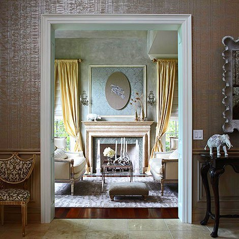 Elegant wallpaper for dining room interior decorating for Elegant foyer decor