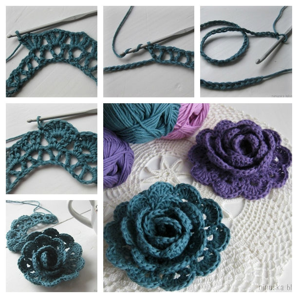 Crochet Lace Patterns Step By Step : Wonderful DIY Crochet Lace Rose Flower This is an easy ...