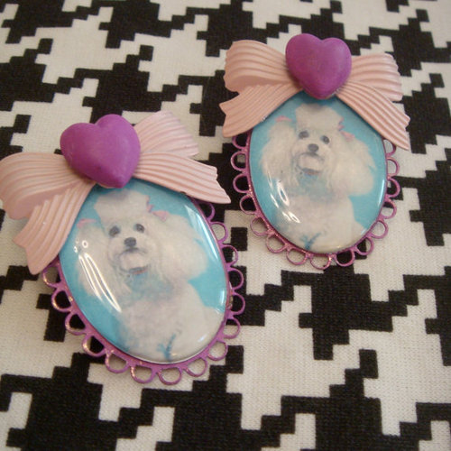 Poodle Cameo Earrings by imyourpresent on Etsy
