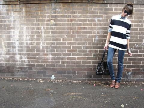 "American Apparel Sweater Mens From Http://Www.Americanapparel.Com/Rsakwcnd.Html?Cid=215&C=Cr%E8me%20 Navy%20 Wide%20 Stripe, American Apparel Oxford Shirt From Http://Www.Americanapparel.Com/Rsacp400.Html?Cid=15, Topshop Dark Denim Jeans // ""One"
