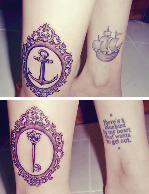 anchor, key, legs, ship, tattoo - inspiring picture on Favim.com