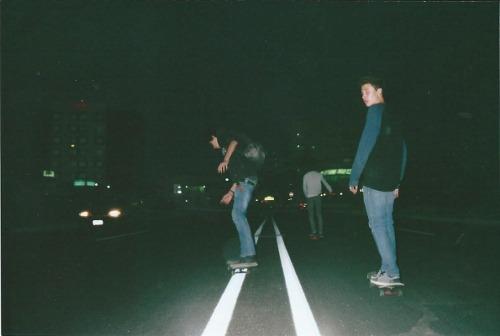 Skaters Dark Blackandwhite Teens Boys Rude Night