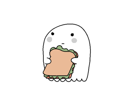ghost eating sandwich via tumblr by slezia we heart it halloween ghost clipart borders halloween ghost clip art free