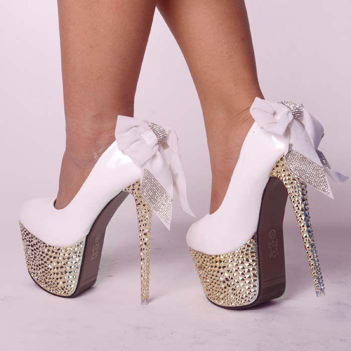 White Heels With Diamonds - Red Heels Vip