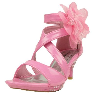 Kids Dress Sandals Strappy Patent Leather Flower High Heel Girls
