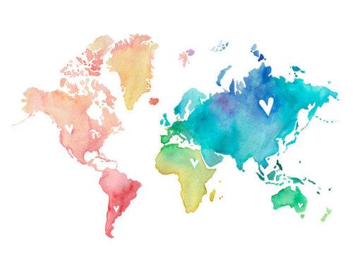 Happiness such 5x7 world love by poppyandpinecone on etsy we heart it world - Pinterest weltkarte ...