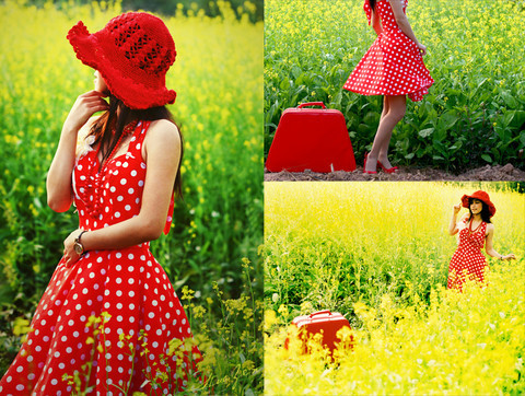 Polka  Dress on Red Hat From Glamour Boutique  Made By Me Polka Dots Dress  Red