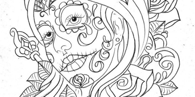 Day Of The Dead Coloring Pages For Adults Enjoy We Heart It Abstract Black And White Printable