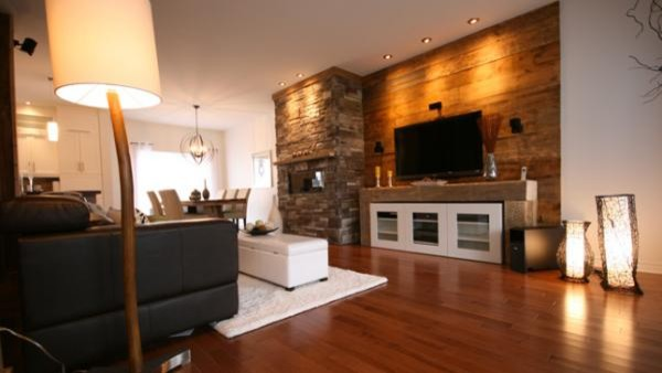 Living Room Designs. The Wood Walls In Living Room As The