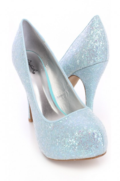 Light Blue Closed Toe Pump Heels Glitter | We Heart It | boots