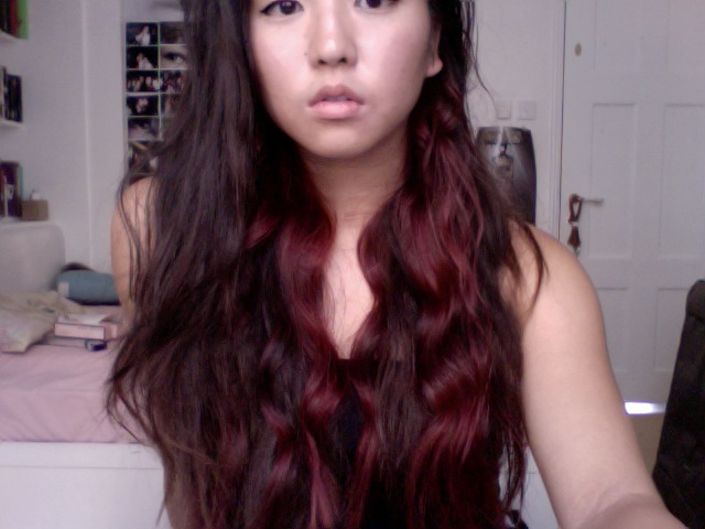asian burgandy hair