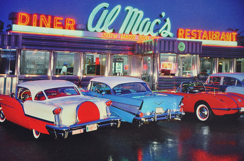 1950s antique car antiques center for 50 s diner exterior