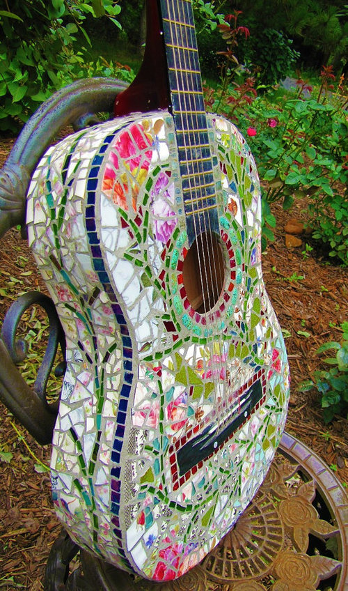 Mosaic Guitar Rock and Roll Shabby Chic Vintage by tomrass4 - wanelo