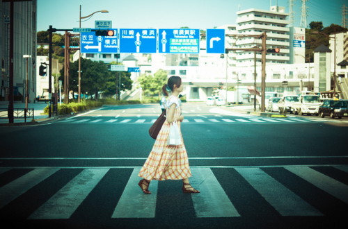 Crossing almost empty streets in Tokyo