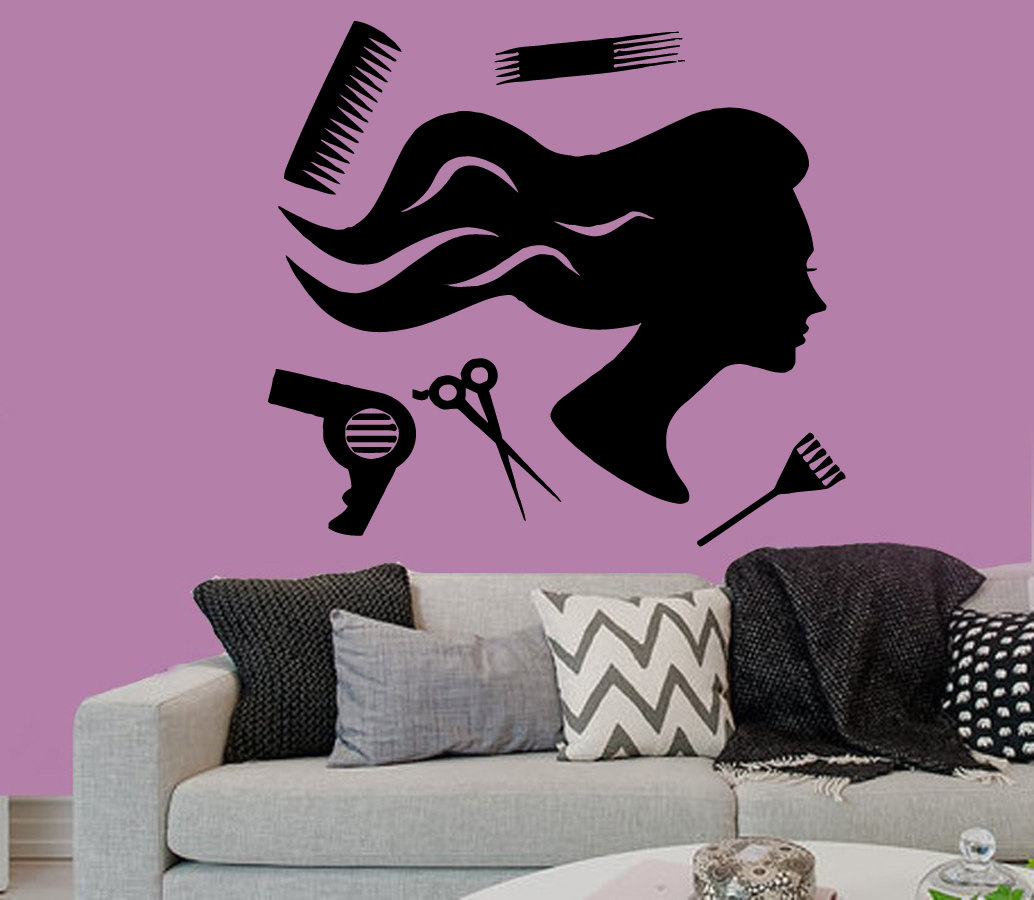 Wall decals vinyl decal sticker woman hair accessories for Accessories for beauty salon