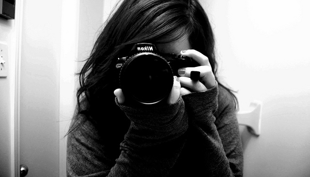 and, black, camera, girl, mirror - inspiring picture on Favim.com