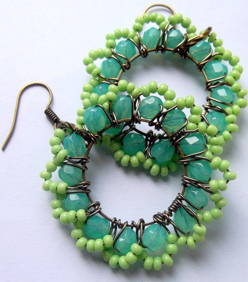 Mint and Bright Green Wire Wrapped Cooper by BohemiaJewellery