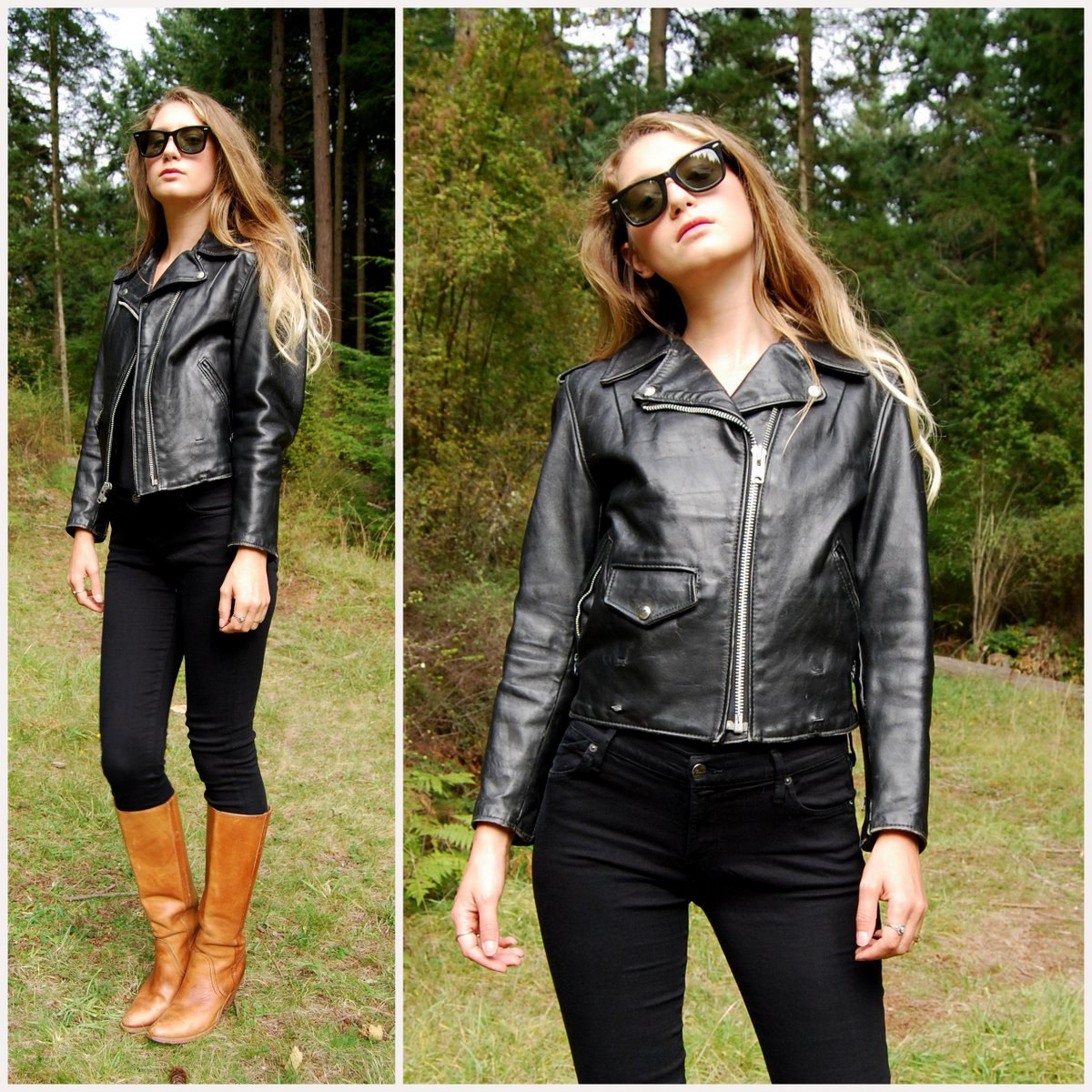 Leather jacket xs - 80s Perfecto Schott Black Leather Jacket Womens Small