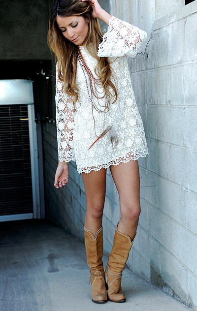 Shoesthystyl: Lace Dress With Cowboy Boots Images