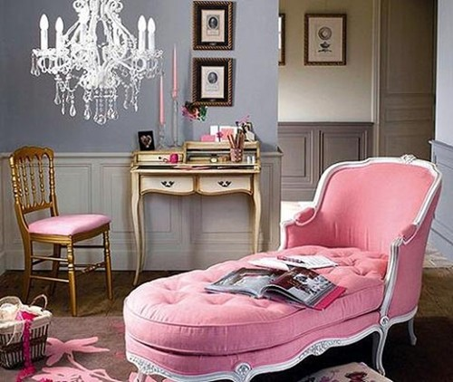 french-style-pink-chaise-lounge-gold-chair-desk-bed-room-eclectic ...