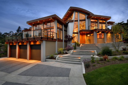 Waterfront house plans in beautiful british columbia for Big modern house designs