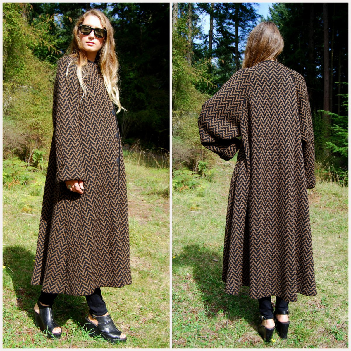 80s Long Wool Coat MEDICI Italy Black Brown by Knit Sweater Coat