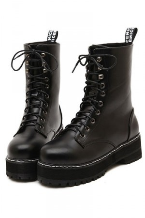 Black Faux Leather Lace Up Combat Boots @ Womens Fashion Boots ...