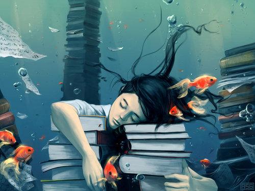 menina dormindo sobre livros, peixes, debaixo d'agua, desenho de estudante