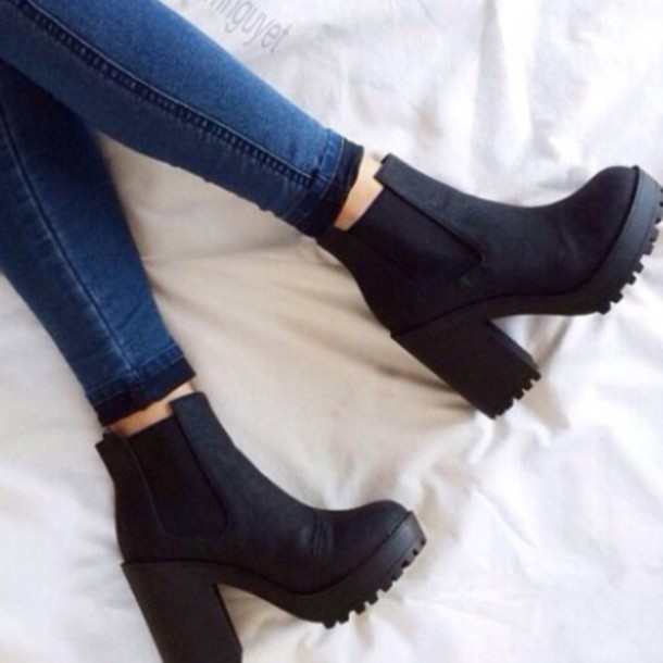 Shoes: boots, black shoes, black boots, small heel, chelsea boots ...