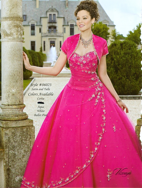Beautiful ball gown sweetheart neck floor-length hot pink ...