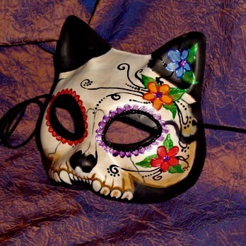 Dia de Los Muertos Kitty Cat Mask Adult Size Goth by Masquefaire
