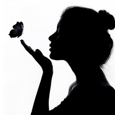 beautiful, black and white, butterfly, girk - inspiring picture on Favim.com