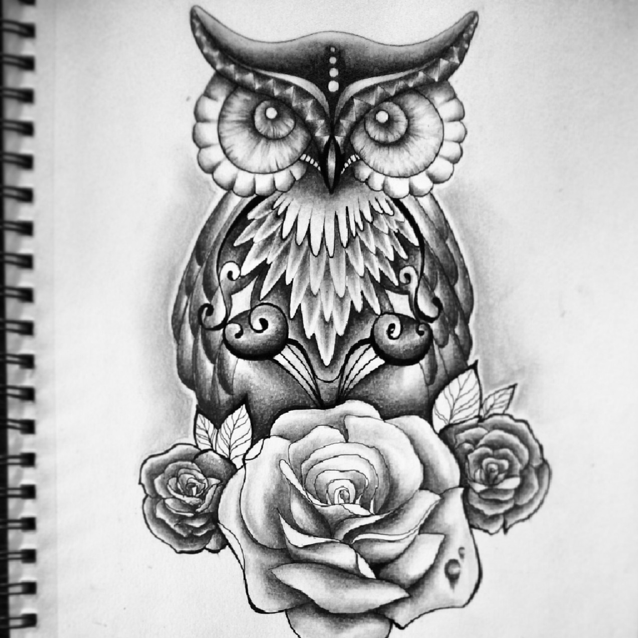 #tattoo #drawing #owl #roses by Jess Ouimet | WHI - photo#14